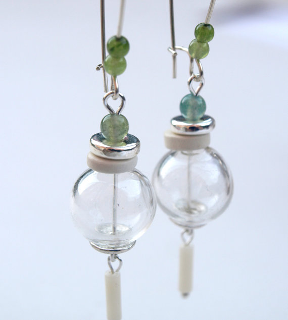 Hand Blown Glass Earrings-Green & White Dangle Earrings