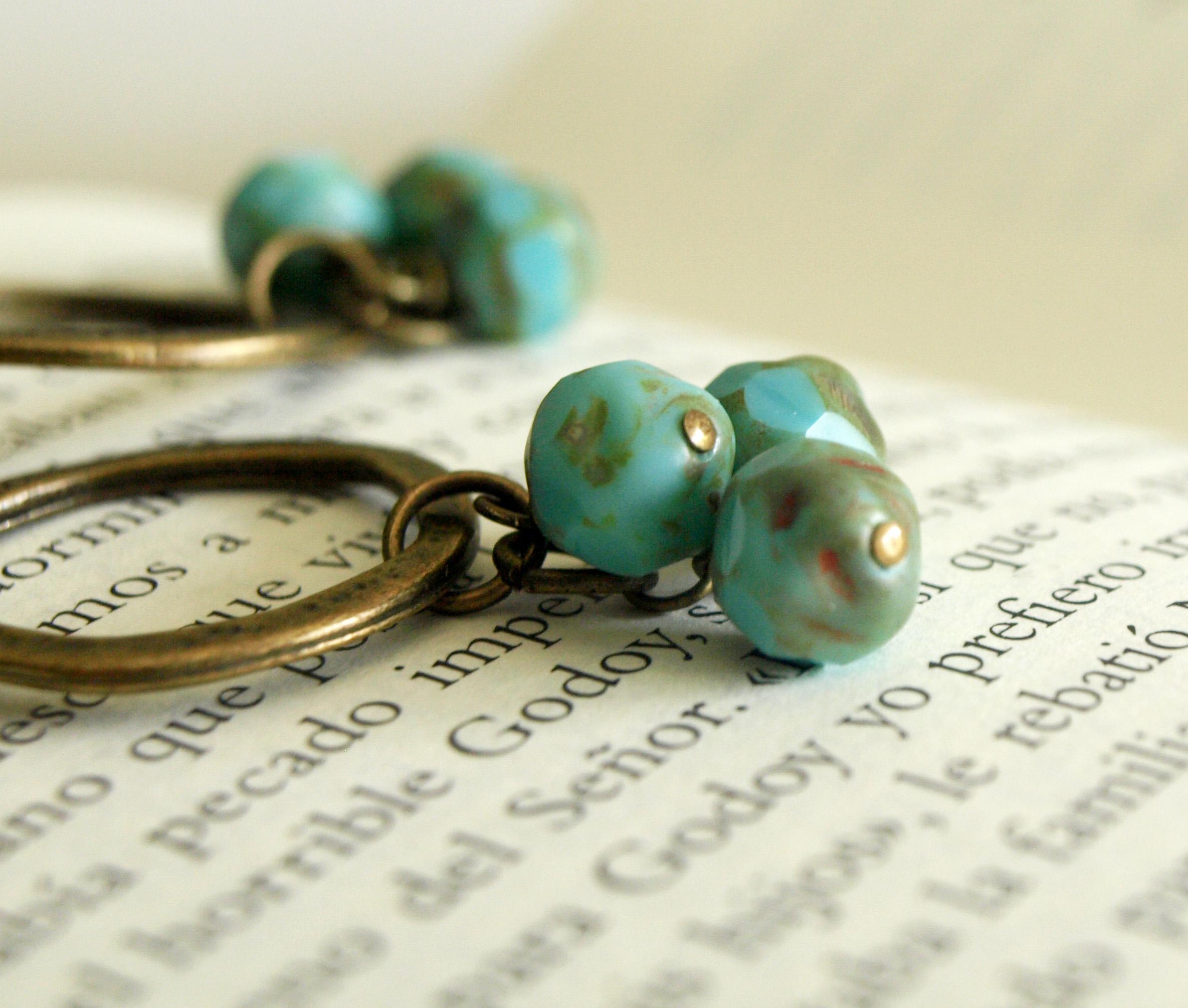 Brass And Turquoise Hoop Earrings Cluster Boho Earrings On